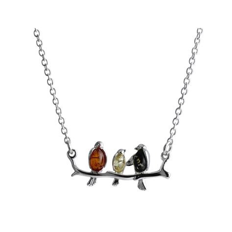 Bird And Tree Necklace by Sterling Silver Bird Necklace Set With Baltic