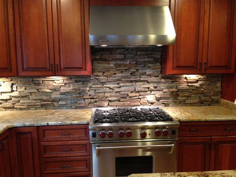 Stone Veneer Kitchen Backsplash by Custom Cut Stone Backsplash In Bethesda Md Eclectic