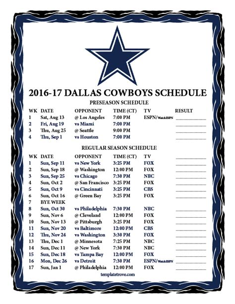 Dallas Cowboys Printable Schedule 2017 printable 2016 2017 dallas cowboys schedule