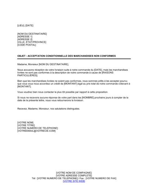 Exemple De Lettre Pour Demande De Liberation Conditionnelle Acceptation Conditionnelle Des Marchandises Non Conformes Template Sle Form Biztree