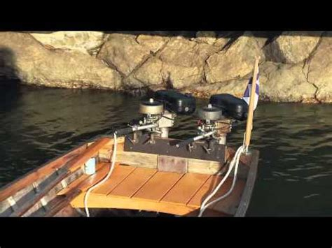 wooden boat engines british seagull outboards double engines in wooden boat