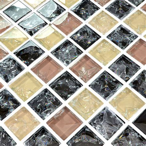 crackle glass mosaic tile kitchen tile backsplash
