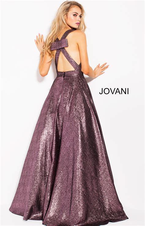 jovani  deep  neckline open  ball gown dress