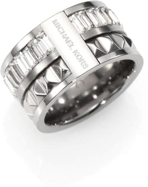 michael kors stud baguette barrel ring in silver lyst