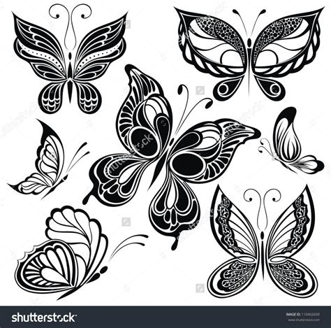 white butterfly tattoo butterfly stock vectors vector clip