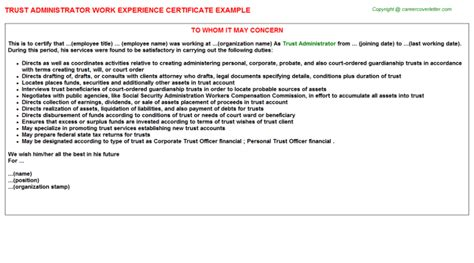 Experience Letter Hospital Administrator Temporary College Recruiting Administrator Work Experience