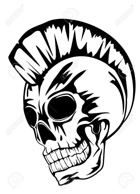 mohawk outline designs punk rock skull tattoo www pixshark com images