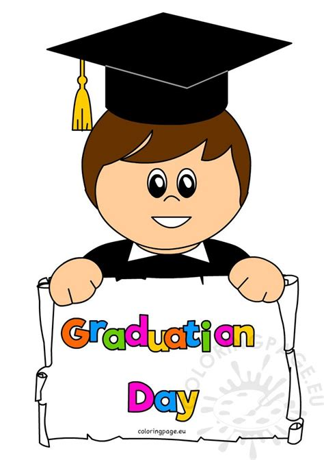 boy student smiling  graduation day coloring page