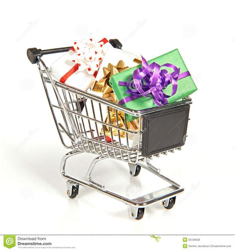 gift for shopping shopping cart filled with gifts stock photo