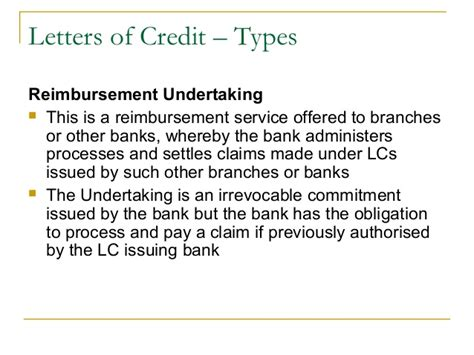 Letter Of Credit Reimbursing Bank Trade Finance Identification Of Needs And Product Offerings