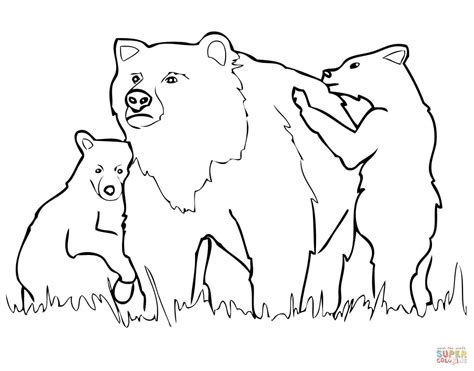 coloring page bear cub grizzly bear mother and cubs coloring page free
