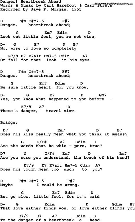 song about a song lyrics with guitar chords for danger heartbreak ahead p
