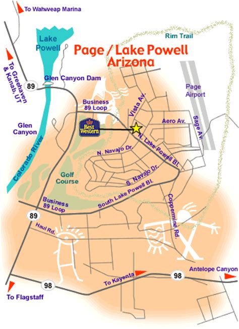 map of page arizona arizona map and directions page lake powell
