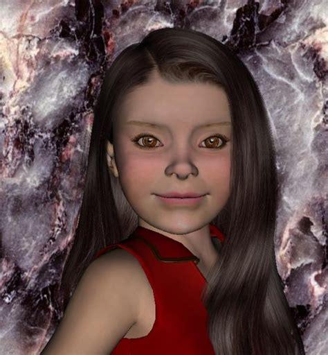 3d tiny girl portrait of a little girl 3d and 2d art sharecg