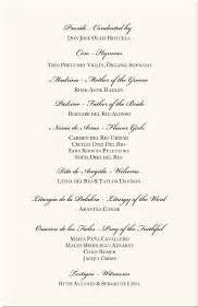 spanish wedding program examples catholic wedding program