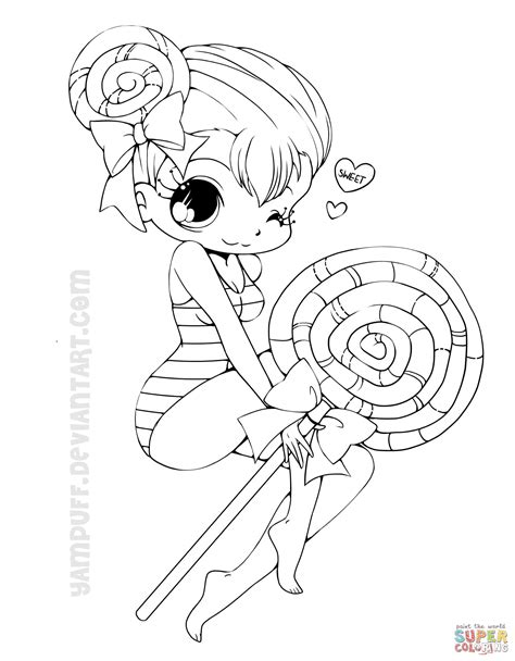 printable coloring pages of a girl chibi lollipop girl coloring page free printable