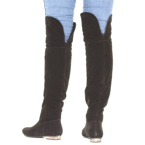 flat thigh high boots for womens knee flat suede look black thigh high
