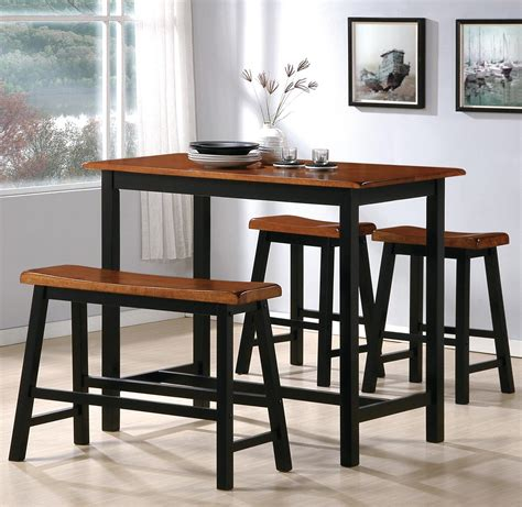 tall dining bench crown mark tyler 2729set 4 piece counter height table set