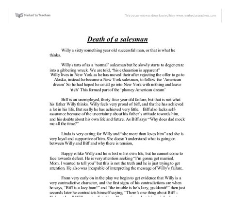 theme statement of death of a salesman death of a salesman plot summary gcse drama marked