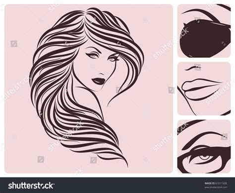 long curly hairstyle vector illustration stock vector