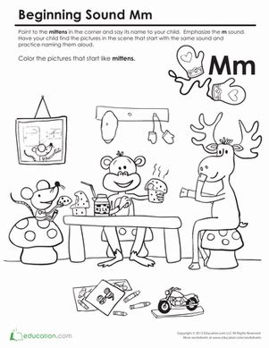 Beginning Sounds Coloring Sounds Like Mittens Worksheet Sound Of Coloring Pages