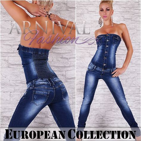 hot ladies fashion new sexy ladies denim jumpsuit blue jeans fashion overall