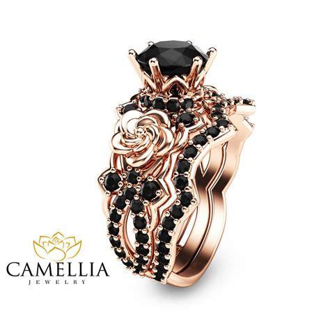 Black Diamond Gold Engagement Ring Set 14K Rose Gold Flower