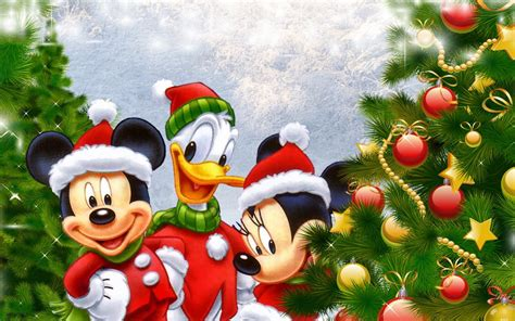disney donald duck mickey  minnie mouse christmas tree desktop wallpaper hd
