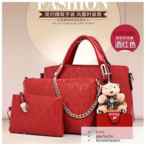 Tas Fashion Import 38802 Set 4 In 1 handbag dolly set 4 in 1 teddy tas fashion wanita import elevenia