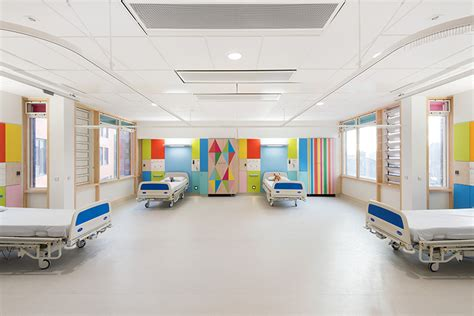 designboom hospital bright hues and graphic patterns light up this children s