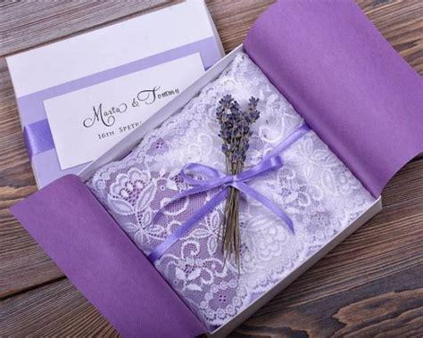 purple wedding invitations boxes custom listing 100 lace and lavender wedding invitation