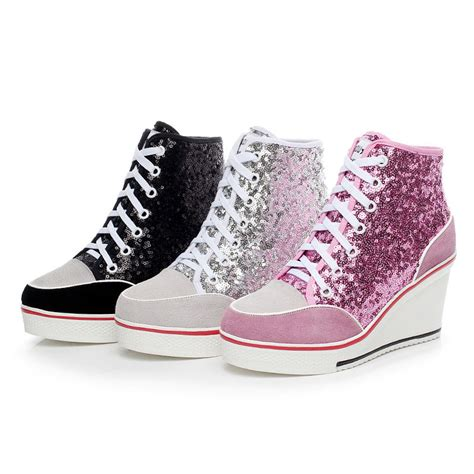 sneakers with high heels womens bling bling sequins wedge lace up high heels