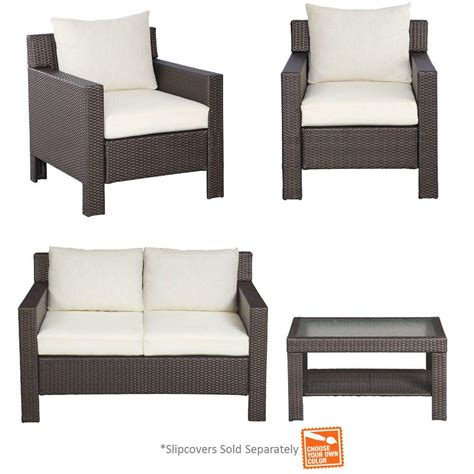 patio cushion slipcovers hton bay beverly 4 piece patio deep seating set with