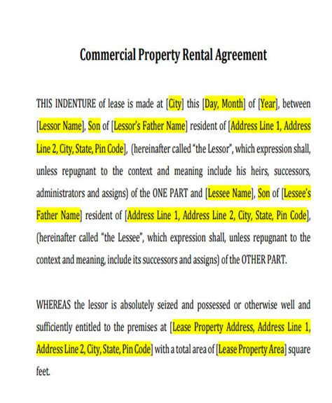 42 Commercial Agreement Formats Templates Sle Templates Business Property Rental Agreement Template