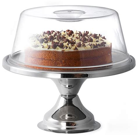 cupola in plexiglass stainless steel cake stand and plastic cake dome 12 inch