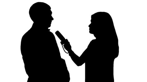 Silhouettes: Girl Reporter Interviewing a Man by mgpremier