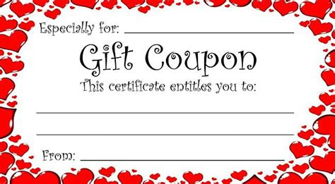 heart theme gift coupon for valentine s day or any time