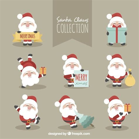 fantastic character pack of smiling santa claus vector