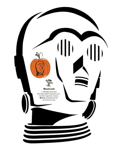 c3p0 pumpkin stencil woo jr kids activities