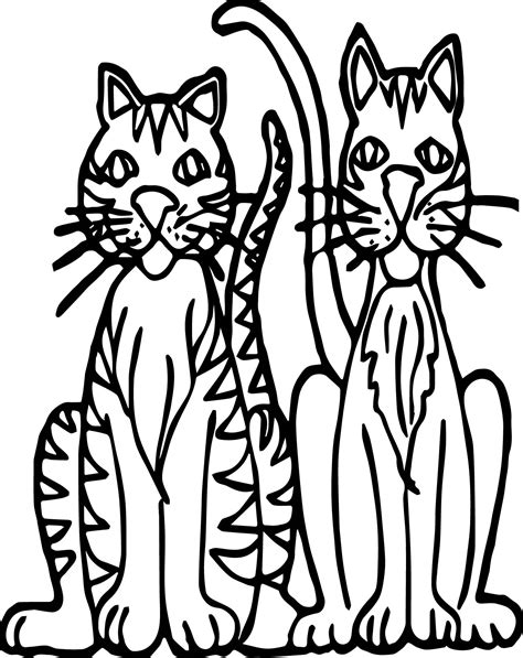 two cats coloring pages two cat tiger coloring page wecoloringpage
