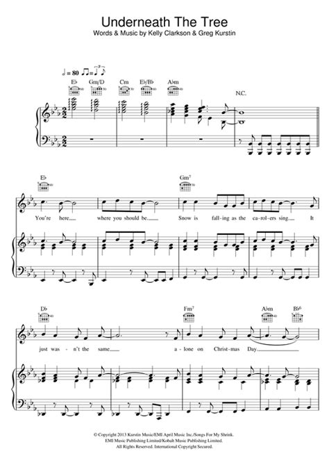 underneath the tree sheet music by kelly clarkson piano