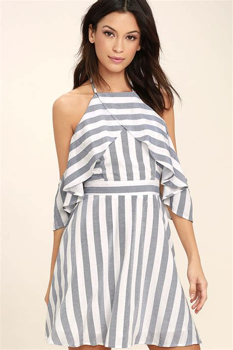 white stripe shoulder dress blue and white dress striped dress the