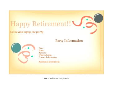Flyer For Retirement Party Retirement Invitation Templates Free Printable