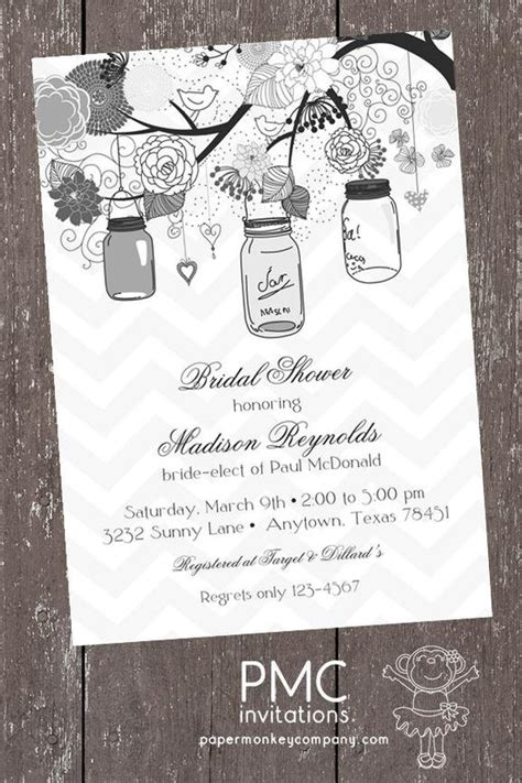 vintage shabby chic bridal shower invitations vintage shabby chic country jar shower baby bridal wedding invitation 1 00 each