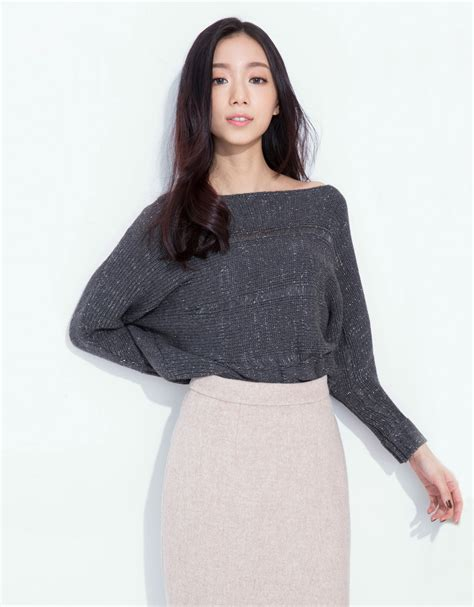 Korean Style Highneck Knitwear Blouse Sleeve Okc95 kodz womens boat neck sleeve glitter jumper japanese korean fashion ebay