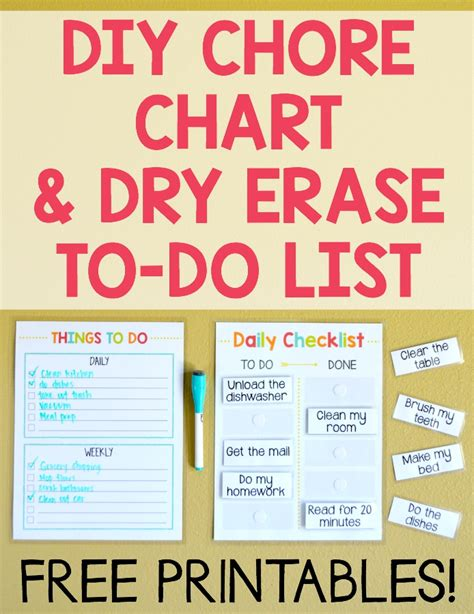 diy chore chart erase to do list free printables