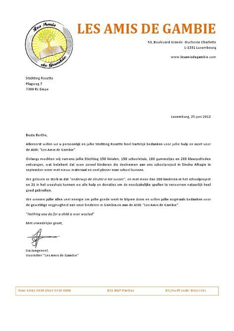 Bedankbrief Voorbeeld Samenwerking bedankingsbrief
