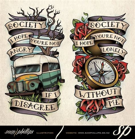 into the wild compass bus tattoo jpg 595 215 614 ilustras