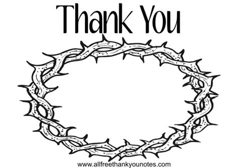 printable crown of thorns coloring thank you note printable template pages