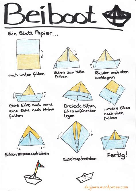 Origami Boot - papierboot falten papier boot falten origami
